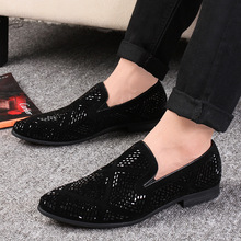 цена на LAISUMK Shining Rhinestone Decoration Fashion Loafer Shoes Men Pointed Toe Casual Flat Shoes for Wedding Party 2019 New
