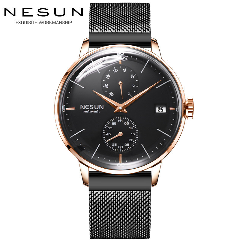 Luxury Brand Men's Watches Nesun Automatic Mechanical Watch Men Sapphire relogio masculino Stainless Steel Strap clock N9606-5 цена и фото