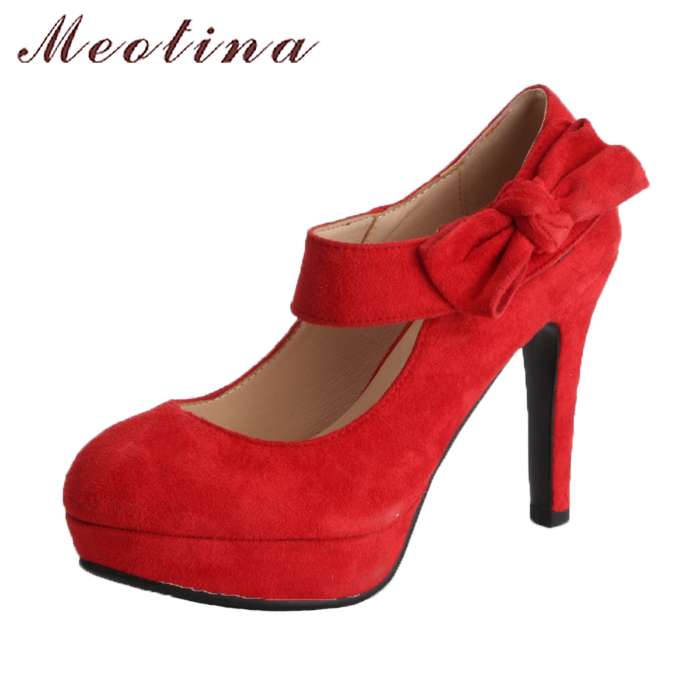 Meotina 2018 Spring Shoes High Heels Pumps Women Mary Jane Platform Shoes Bow-knot Red Plus Size 43 Party Shoes Female Round Toe meotina women wedding shoes 2018 spring platform high heels shoes pumps peep toe bow white slip on sexy shoes ladies size 34 43