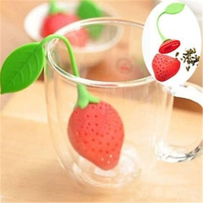 1pcs Silicone Strawberry Tea Leaf Strainer Herbal Spice Infuser Filter