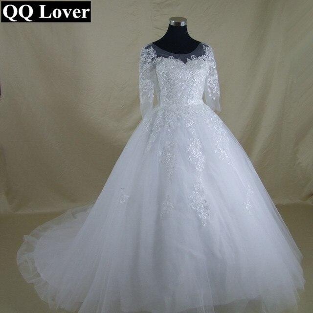 QQ Lover 2017 New Beautiful Lace Half Sleeve Wedding Dress Custom ...