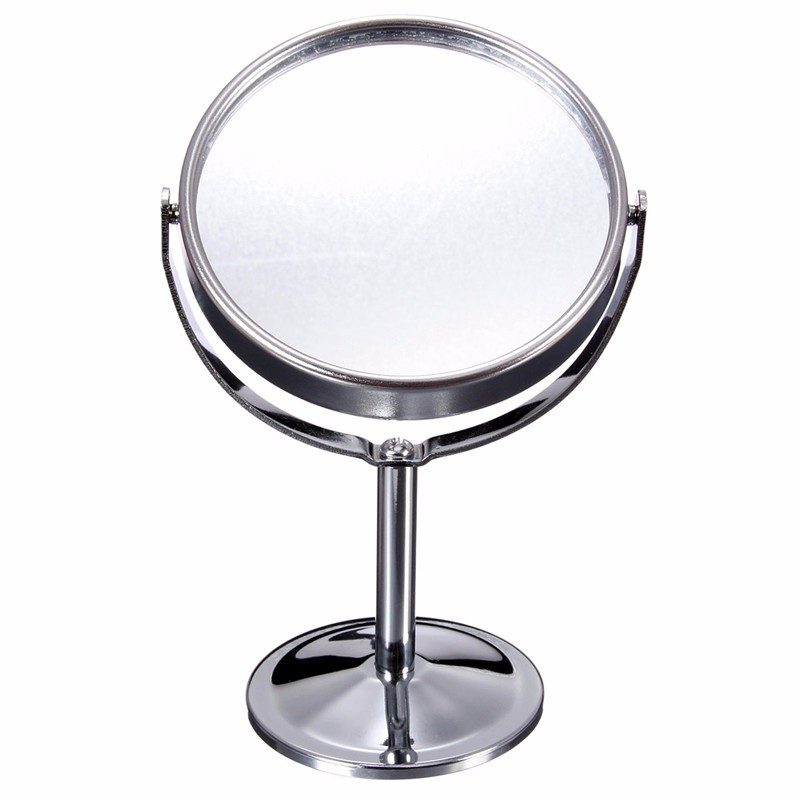 Lady Table Desk Standing Dresser Cosmetic Mirror Double Sided Normal and Magnifying Women Beauty Rotating Portable