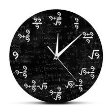 The Nines Math Wall Clock Number 9 Math Modern Clock Wall Watch Math Equation The Clock of 9s Formulas Mathematical Wall Art