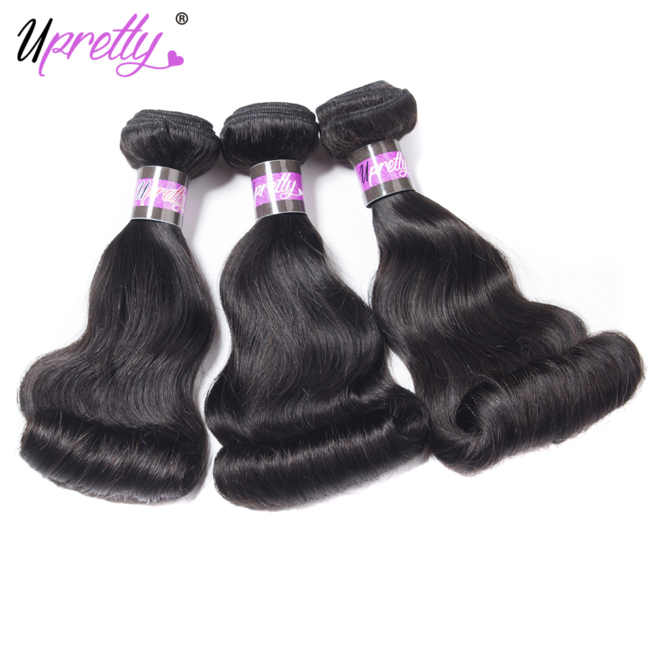 Upretty Hair 3 Bundles Natural Color Peruvain Loose Wave Funmi Hair Egg Curl Human Hair Weave Remy Hair Extension Can be Dyed