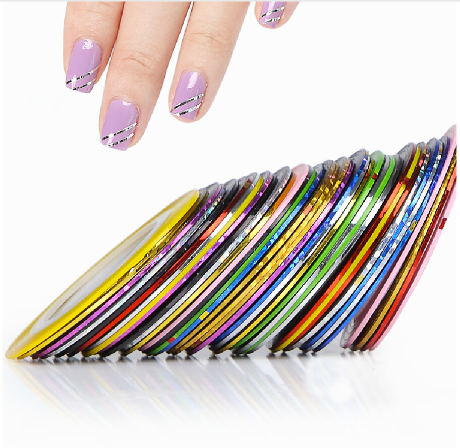Free Shipping 30x Striping Mix Color Fashion Tape Line Nail Art Decoration Sticker UV GEL Nail Acrylic tips Tool Hot Sale 10 color 20m rolls nail art uv gel tips striping tape line sticker diy decoration 01zx 2t7j