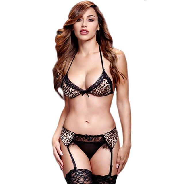Erotic sexy lingerie Leopardo de tres puntos tipo bikini conjunto de  lencería sexy mujeres ropa interior 63de2cc99669