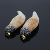 1pcs High Quality Old Style Teeth Pendant Paved Rhinestones Charm Bone Pendant For Necklace Fine Jewelry