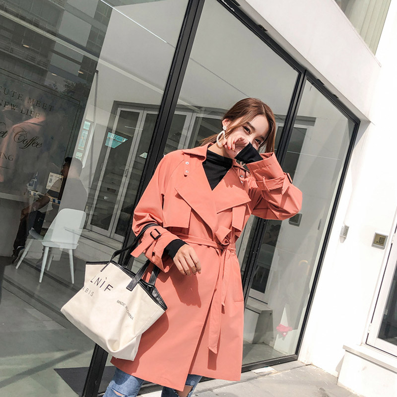 Women Casual Loose   Trench   Coat With Sashes 2019 New Arrival Spring Long Elegant Coat Female Overcoat Turn-down Collar Outerwear