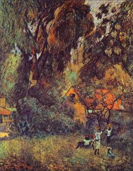 High quality Oil painting Canvas Reproductions Huts under Trees (1887)  by Paul Gauguin hand painted