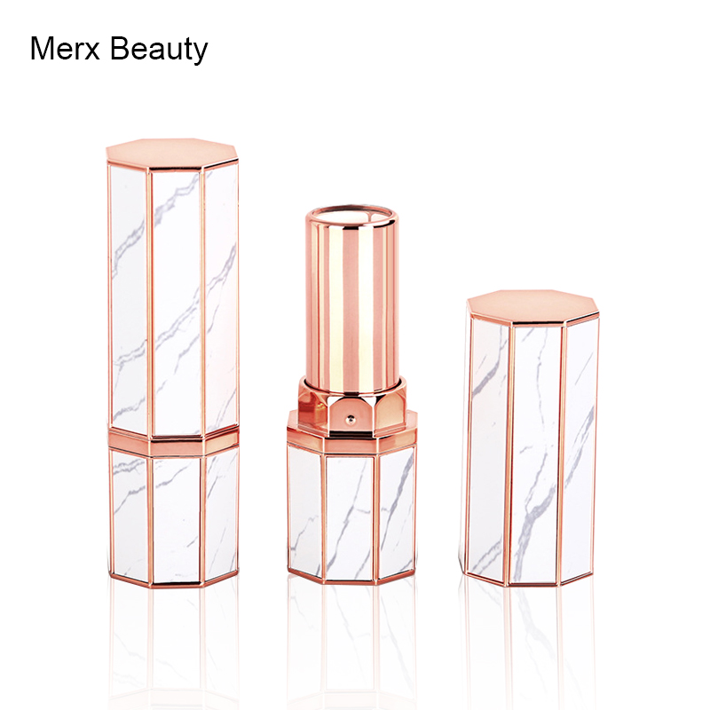 12.1mm 3.5g Empty Plastic Lipstick Tube Polygonal White DIY Homemade Travel Lipstick Tube Cosmetic Makeup Packaging Wholesale high quality lipstick tube 12 1mm square metal diy empty coffee purple pink travel lipstick tube wholesale makeup tool packaging