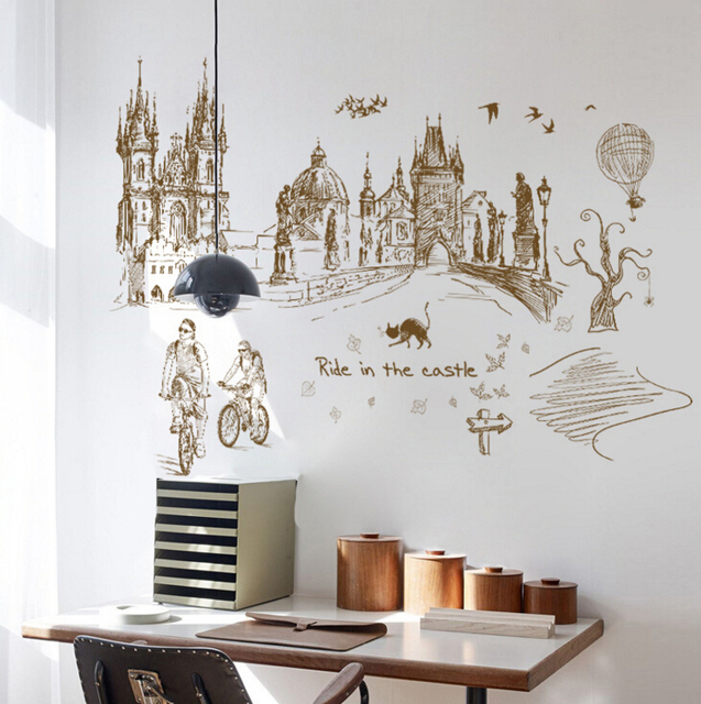 Hand Painted City Tour Large Wall Stickers Decals Home Decor Living Room Bedroom Wallpaper Removable