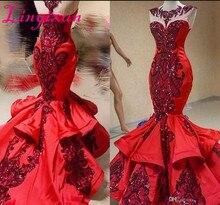 赤高級スパンコールアップリケマーメイドフリルウエディングドレス 2020 光沢のあるジュエルシアーネックフィッシ日のイブニングドレス