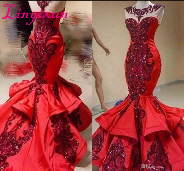 Red Luxury Sequins Applique Mermaid Ruffles   Prom     Dresses   2018 Shiny Jewel Sheer Neck Fishtail Occasion Evening   Dresses