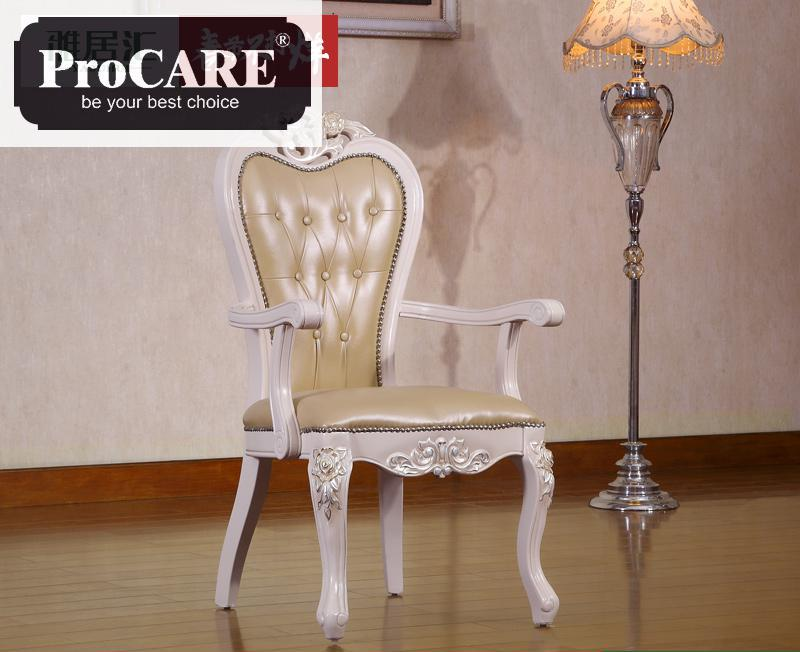 European Dining room Solid Wood Carving leather chair for dining table