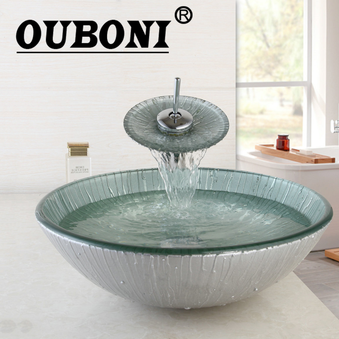 OUBONI Brand New Wash Basin Sets Bathroom Sink Set Tempered Glass Bathroom Sink And Chrome Finish Bathroom Faucet