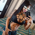 2016 Women Work Out Fitness Clothes Black Strappy Crop Top Women Sexy Tank Top Fitness Clothing