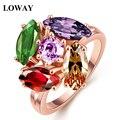LOWAY Цветок Colorfule Кольцо Кубического Циркония Позолоченные Кольца для Женщин Ювелирные Изделия Bague Femme Рождественский Подарок JZ6020