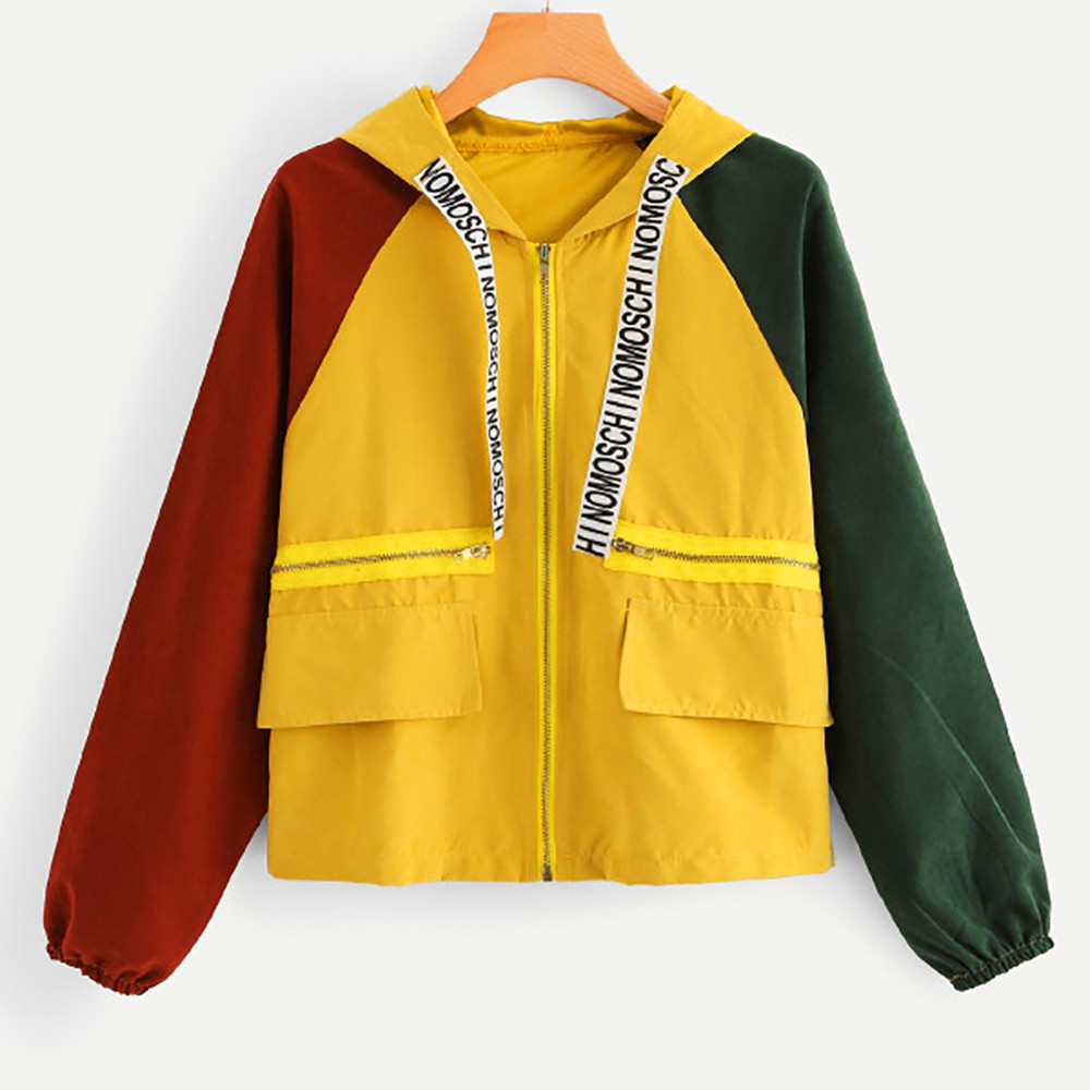 Women autumn Jacket Long Sleeve Patchwork Pocket Skinsuits Hooded Zipper Pockets Sport Coat casaco feminino Куртка