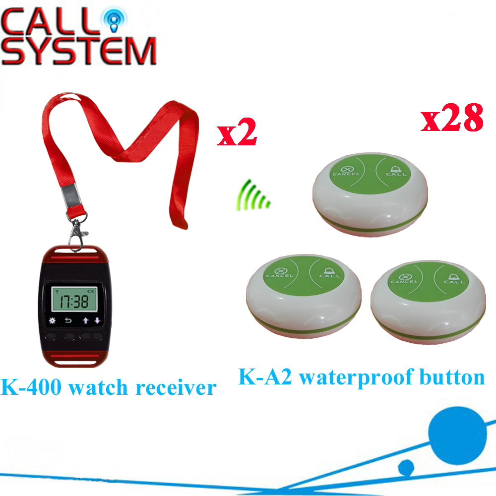 Wireless Waiter Pager System Fashion Design Most Popular Suit For Restaurant Pager 433.92MHZ(2 watch+28 call button) wireless pager system 433 92mhz wireless restaurant table buzzer with monitor and watch receiver 3 display 42 call button