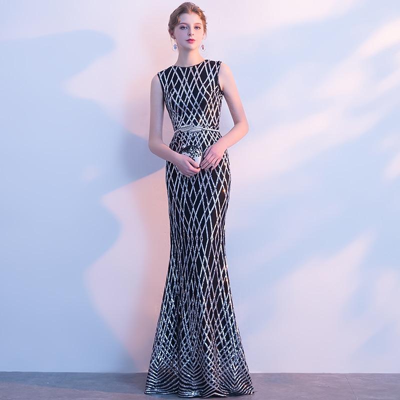 2b548f48401 2018 Mermaid Prom Dress Sexy Slim Black Sleeveless Sequins Floor-length  Fishtail Formal Party Gown Robe De Soiree