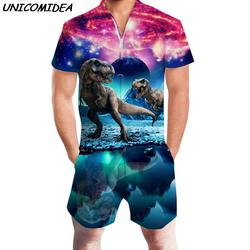 Новый Для мужчин 3D Графический Одна деталь комбинезон Повседневное молнии комбинезон динозавров пляж Для мужчин летние комбинезоны Hoiday
