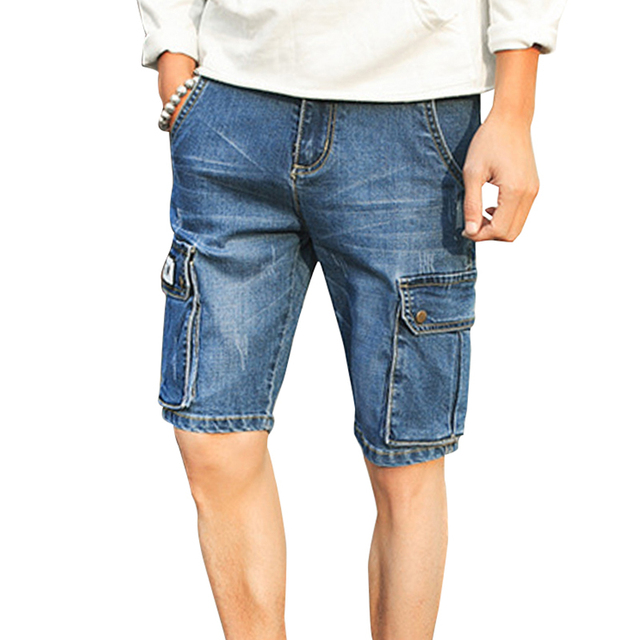 c30a59ad59 Summer men cargo Jeans shorts Casual mens shorts Pocket decorate Breathable  cotton Washed Denim Shorts Men Plus size 40 L573
