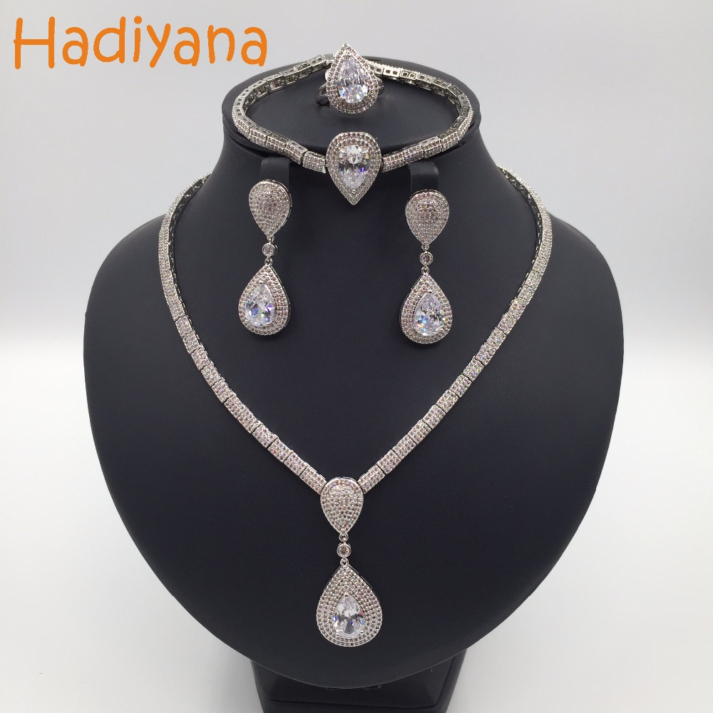 Hadiyana Sparking Waterdrop Shape Jewelry Set Newest Fashion Cubic Zircon 4pcs Wedding Set For Women Or Lady Party Jewelry CN117Hadiyana Sparking Waterdrop Shape Jewelry Set Newest Fashion Cubic Zircon 4pcs Wedding Set For Women Or Lady Party Jewelry CN117