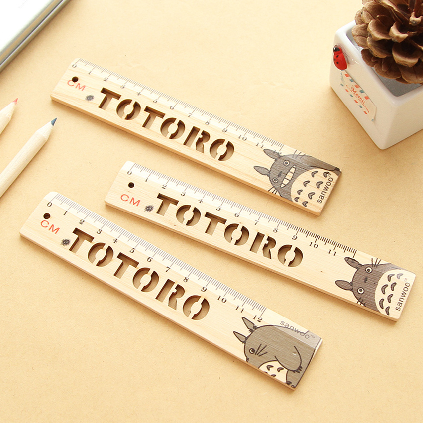 Cute Totoro 12cm Straight Ruler Bookmarks Hollow Clear Scale Crude Wood Ruler Kids Stationery Drawing Learning Measuring Tools