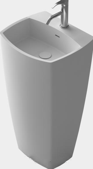 Bathroom Oval Freestanding Pedestal Vessel Wash Sink Solid Surface Stone Wash Basin Rs38391