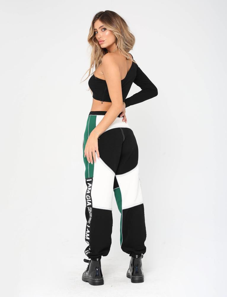 2019 Autumn Dress New Hong Kong Style Sports Trousers Women Loose Toe Letter Color Matching Casual Trousers Loose Type Street