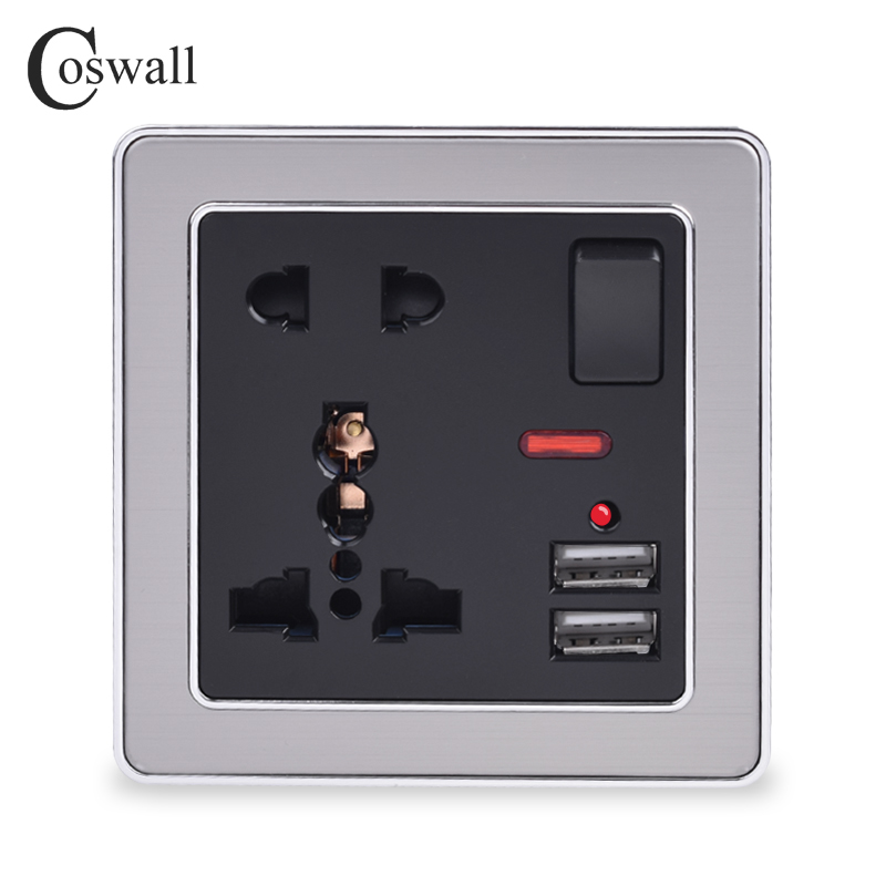 Coswall 13A Universal 5 Hole Switched Wall Socket With Neon 2.1A Dual USB Charger Port LED Indicator Black Stainless Steel Frame