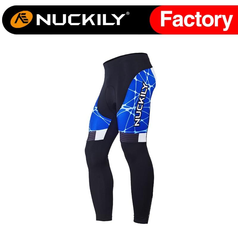 ФОТО Nuckily Winter Blue patterned men's mountain bikes winter long cycling fleece tights MF018
