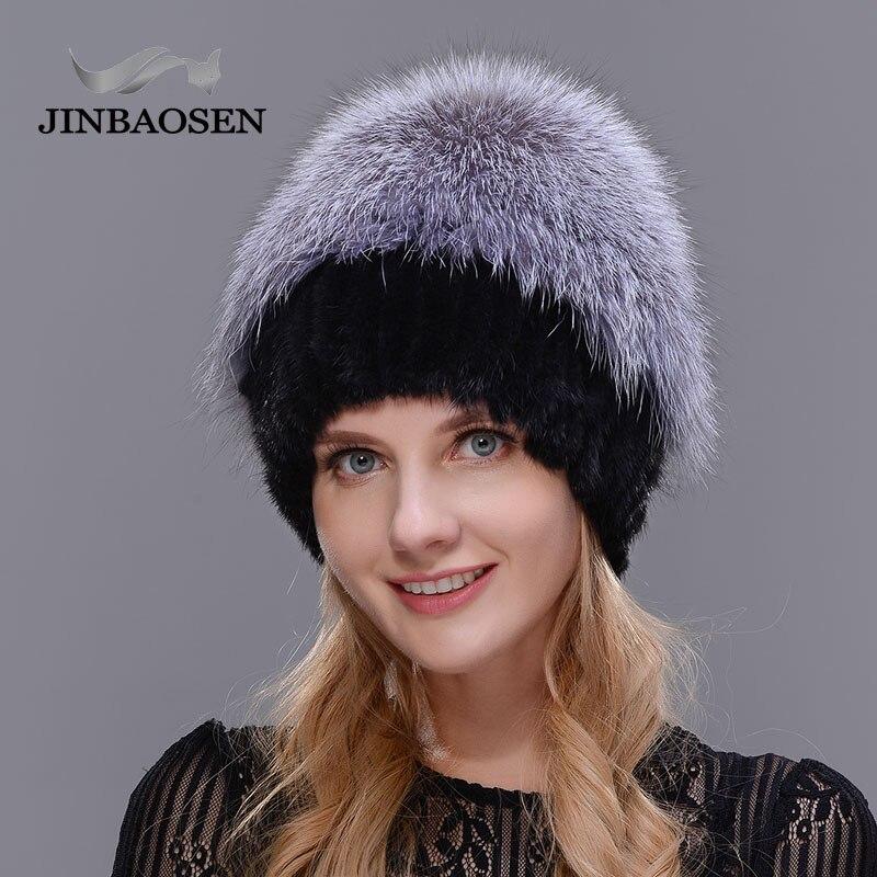 2018New mujeres invierno ruso piel moda piel real sombrero Piel de visón natural zorro tejido lana esquí sombrero caliente oreja protección de sombrero - 4