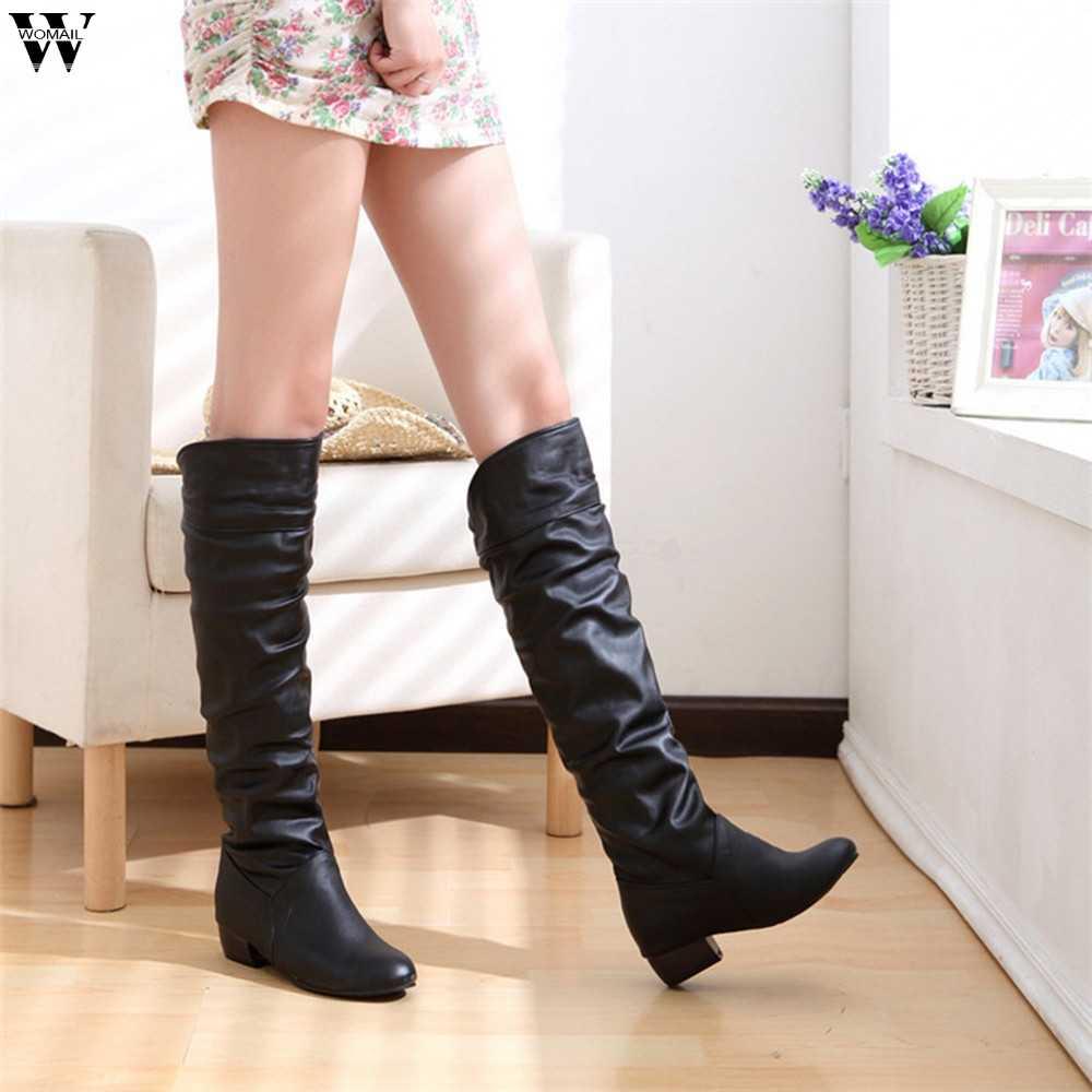 2018 botas finas sexy sobre o joelho de camurça alta botas de neve feminina moda inverno coxa botas altas sapatos mulher nov28