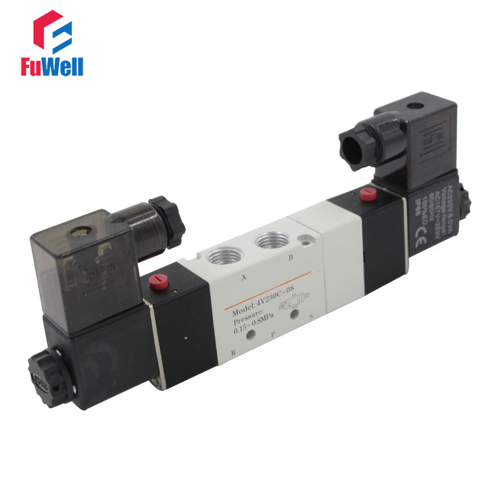 4V230C-08 Pneumatic Solenoid Valve AC 220V PT1/4 Air Control Valve 5 Ports 3 Positions Aluminum Alloy Air Valve pneumatic 3 positions 4 ports air hand switching valve page 5
