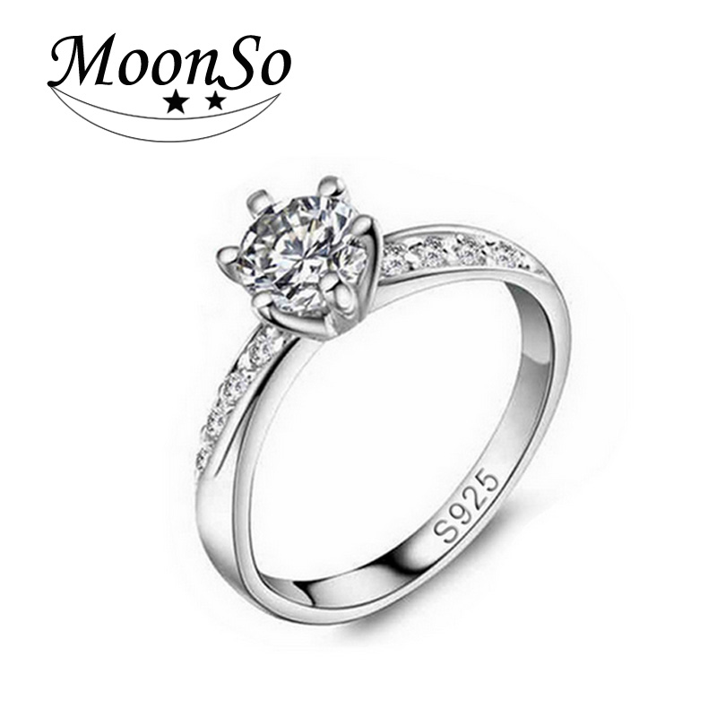 Moonso CZ 925 Sterling Silver Rings For Women 1 Carat Solitaire ...