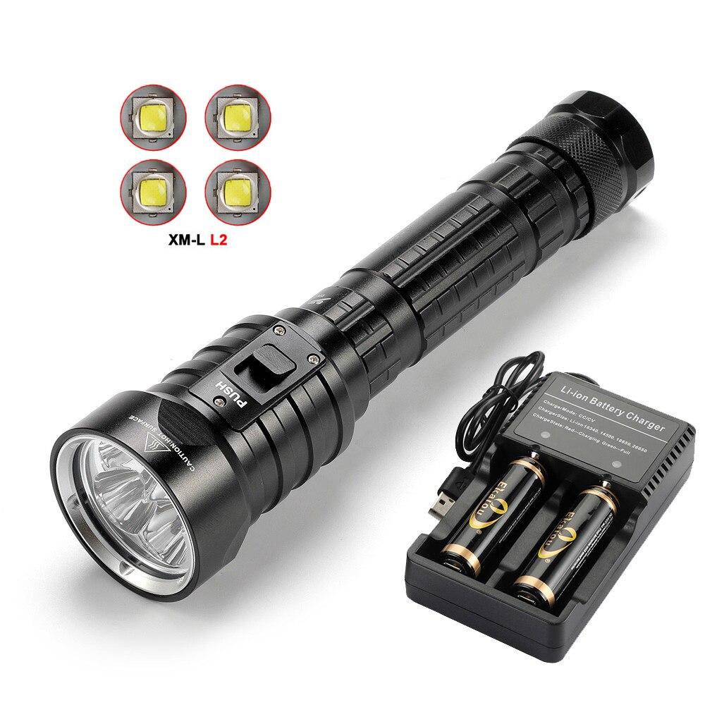 Новый Ekaiou DX4S 4x L2 20000LM светодио дный Дайвинг фонарик Яркость Водонепроницаемый 100 м белый свет светодио дный Факел комплект