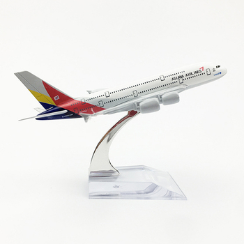 1/400 Scale Aircraft Airbus A380 Asiana Airlines 16cm Alloy Plane Model Toys Children Kids Gift for Collection 16cm 787 a380 747 777 airlines metal alloy model plane aircraft toy wheels airplane birthday gift collection desk toy