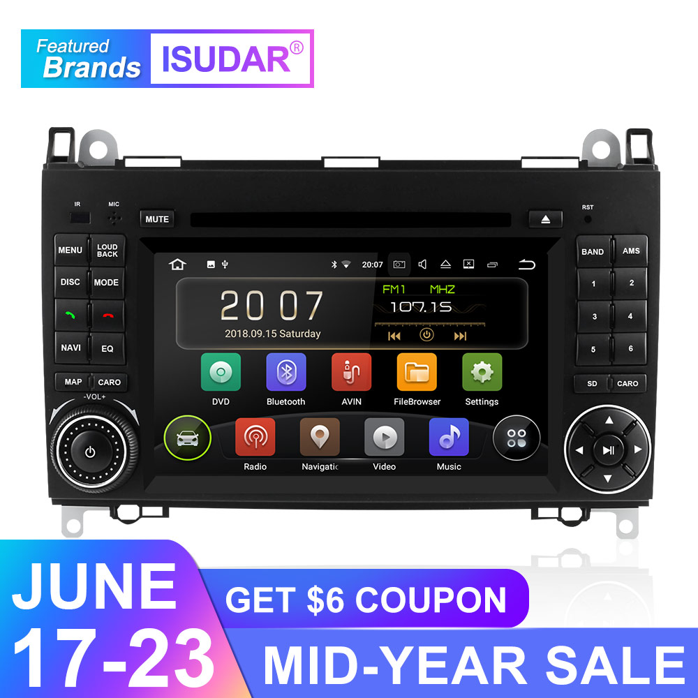 Isudar Car Multimedia Player GPS Android 9 2 Din DVD Automotivo For Mercedes/Benz/Sprinter/B200/B-class/W245/B170/W169 Radio DSP