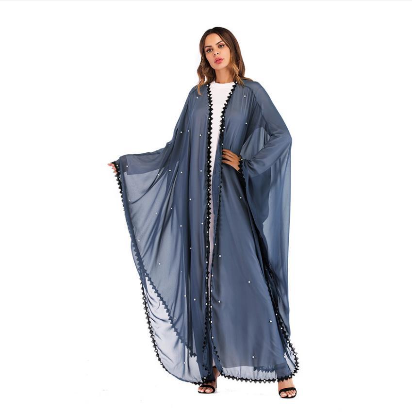 Muslim Bat Sleeve Diamond Abaya Islamic Cardigan Kimono Long Robe Gowns Tunic Vestidos Ramadan Turkish Islamic Abaya Wq1167