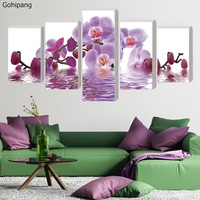 5 Piece Canvas Art Movie Poster Home Decoration Purple Butterfly HD Print Canvas Oil Painting Modular