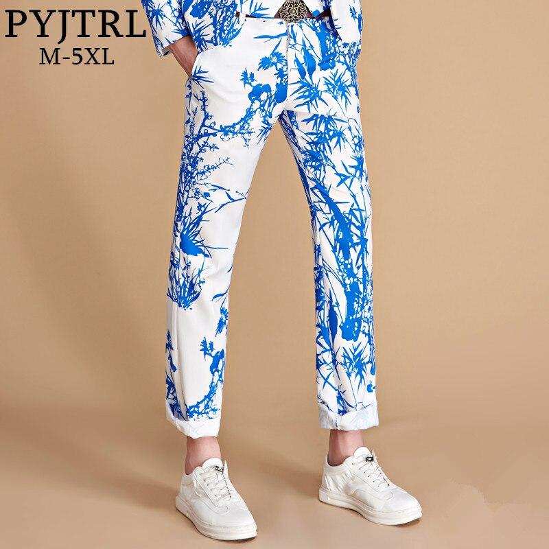 PYJTRL Brand 2018 Tide Men Colorful Floral Print Slim Fit Suit Trousers Plus Size Hip Hot Male Fashion Casual Pants Dress