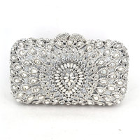 Metal Hard Case Ladies Clear Crystal Clutch Bags Evening Bags Women Hollow Out Wedding Party Silver