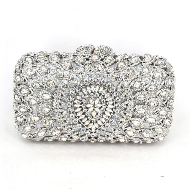 Metal Hard Case Las Clear Crystal Clutch Bags Evening Women Hollow Out Wedding Party Silver