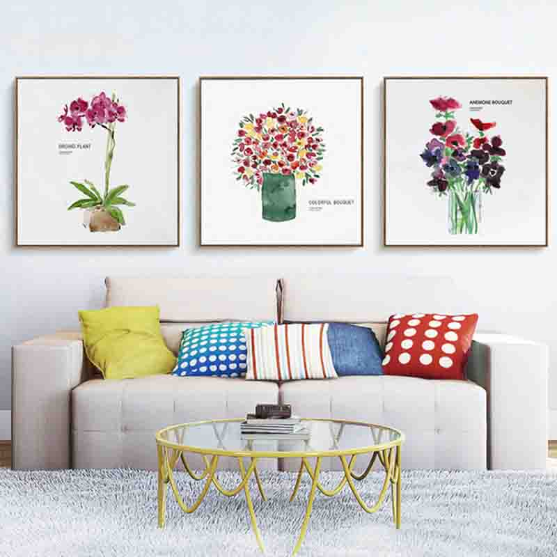 Watercolor Flowers Lovely Potted Plant Charming Concise Canvas Painting  Artwork Aesthetic Wall Picture For Room Home Decoration In Painting U0026  Calligraphy ...