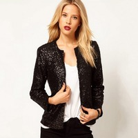 Autumn Spring Women Open Stitch Long Sleeves Sequined All Matching Bling Bling Jacket Black Silver FS0593