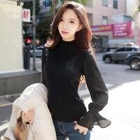 Original 2017 Brand Autumn Winter Korean Knitted Pullover Semi Turtleneck Flare Sleeve Elegant Slim Sweater Women