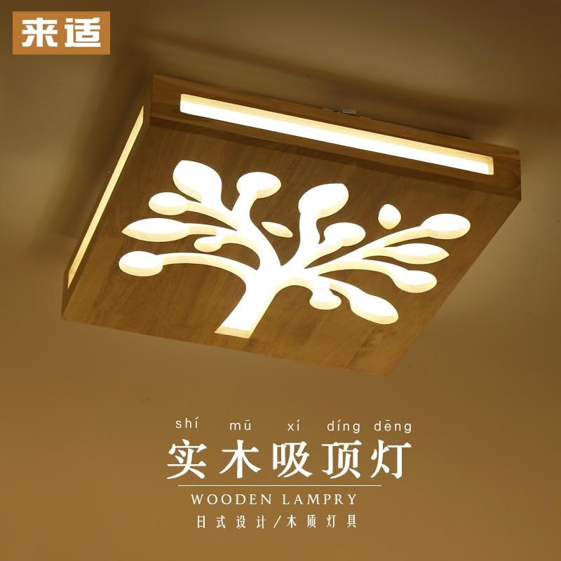 Lights & Lighting Ceiling Lights Modern Minimalist Living Wood Carving Decorative Lamp Led Wooden Bedroom Ceiling Lamp Japanese