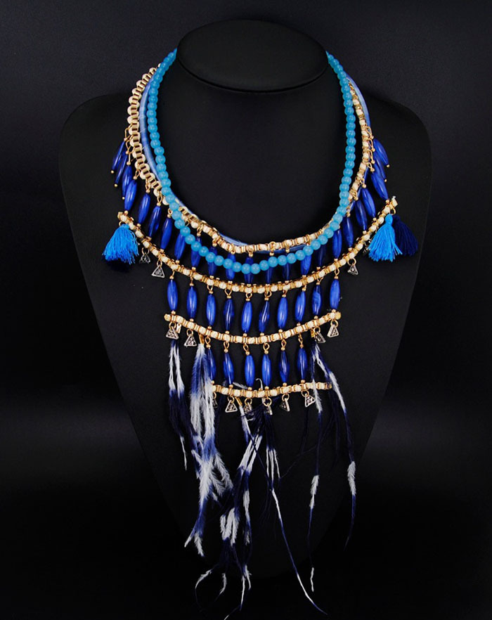 fashion boho style exaggerated multilevel chain native american