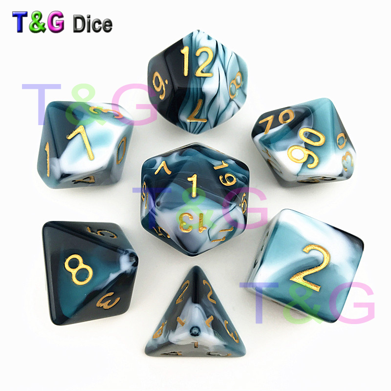 Transparent Turquoise White Color Dice D4-D20 For Dungeons & Dragons Board Game
